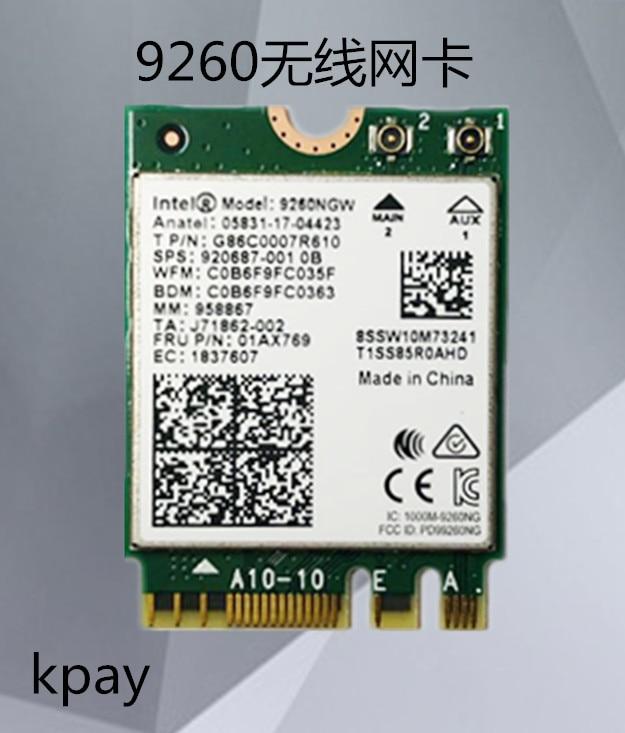 Dual Band Wireless AC 9260NGW NGFF 1.73Gbps 802.11ac Wifi Card+Bluetooth For Intel 9260 8265NGW 7260AC NGFF 2.4G/5G Gaming Wlan