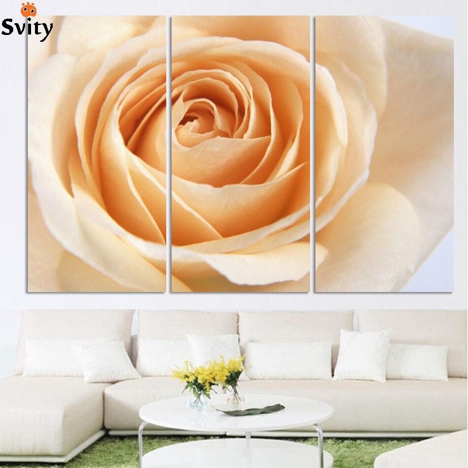 3 ks / sada Značka Horký výprodej Plátno Obraz květina Malování žlutá Růže plátno tisk nástěnných obrázků do obývacího pokoje H184