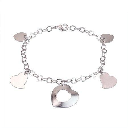 MxGxFam White Gold Color Women's Heart Bracelet With Drop Charms
