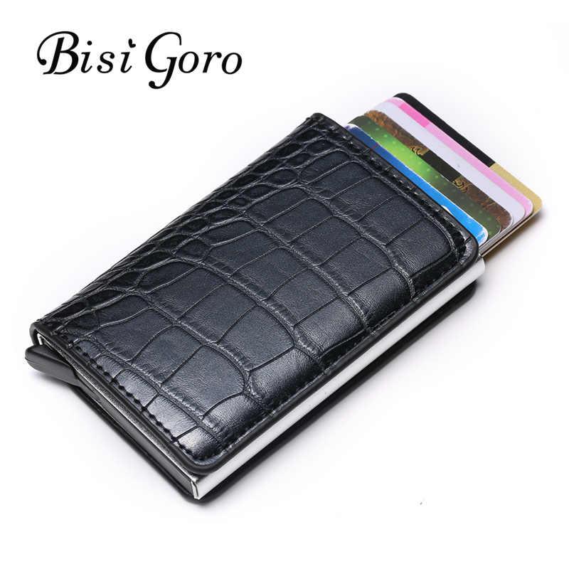 Bisi Goro унисекс держатель для кредитных карт блокирующий кошелек для Карт RFID карбоновый держатель для карт алюминиевый тонкий короткий держатель для карт ID дропшиппинг