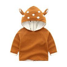kid toddler Baby Boy Girl Sweatshirt Hooded Jacket Outerwear cute 3D Deer Outfit clothing spring autumn coat(China)
