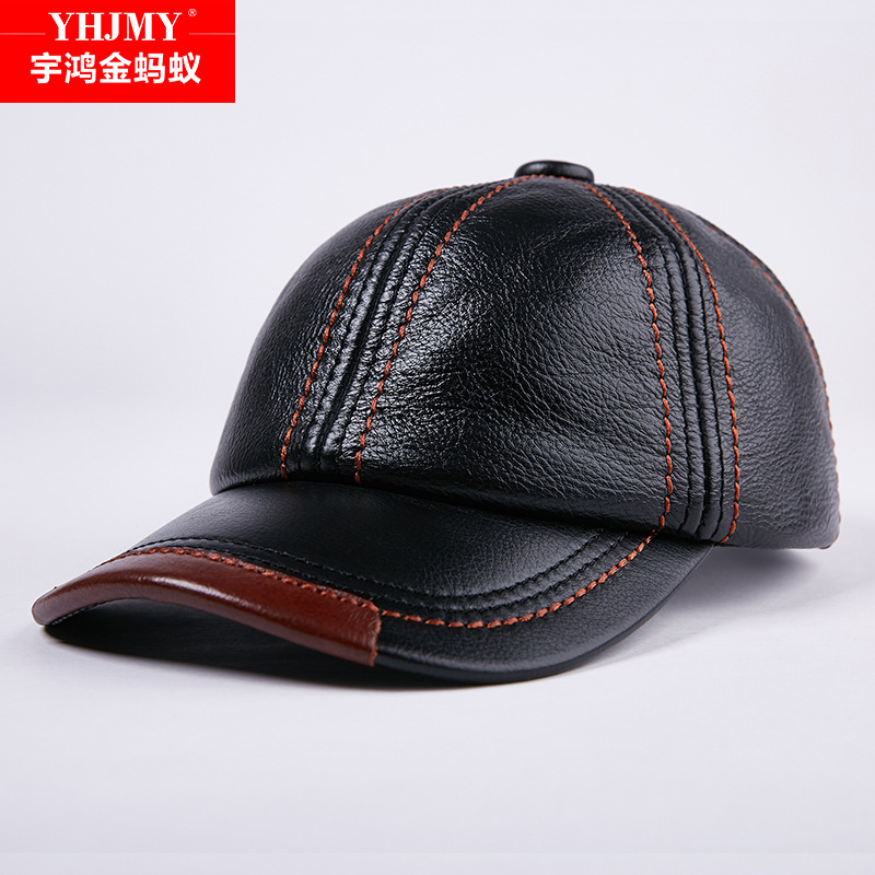 Winter Genuine Leather Baseball Caps Men Golf Peaked Dome Hats Male Adjustable Ear Warm Casquette Leisure Peaked Cap B-7209 aorice genuine leather baseball cap men hats and caps solid color brown black leather leisure fashion travel biker hl187