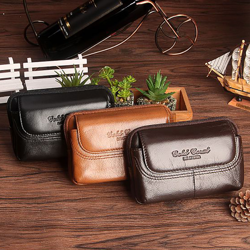 High Quality Men Genuine Leather Waist Pack Money Bag Cell/Mobile Phone Cigarette Case Cover Coin Purse Male Organizer Wallets купить