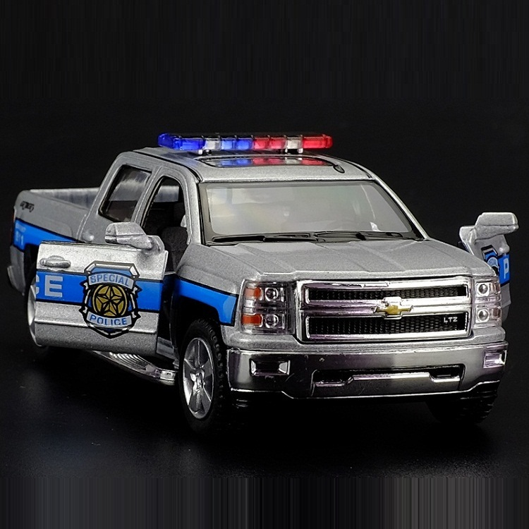 High Simulation Exquisite Collection Toys KiNSMART Car Styling Chevrolet Silverado Police 1:46 Alloy Diecast Model Pull Back Car
