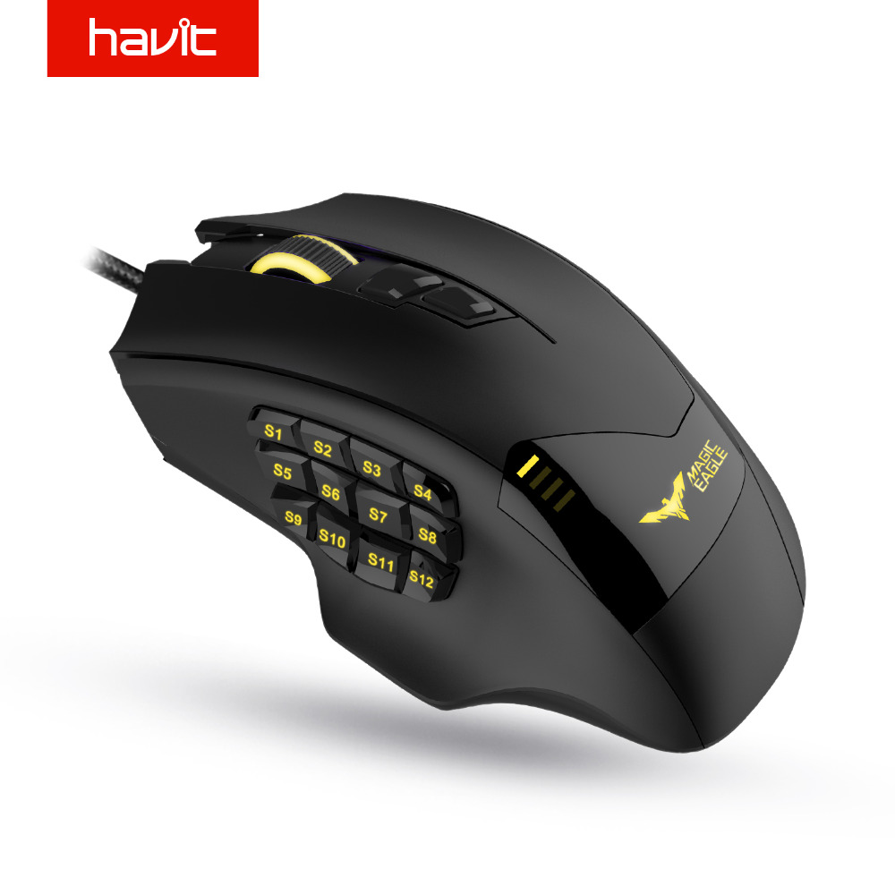 HAVIT Gaming Mouse Wired Optical Mouse 19 Programmable Buttons Computer Mouse 12000 DPI Gamer Mouse For PC HV-MS735