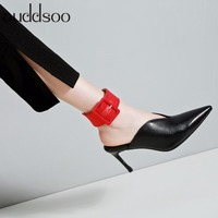 Shoes Slippers Mules High Heel Fashion 2018 Genuine Leather 8cm Summer Sexy Sandals Outside Party Pumps Dress Shoes Size 34 39