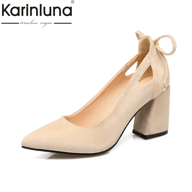 KARINLUNA high quality new arrivals plus Size 32-46 pointed Toe Women Shoes Woman square high Heels Party Wedding Pumps footwear new 2017 spring summer women shoes pointed toe high quality brand fashion womens flats ladies plus size 41 sweet flock t179