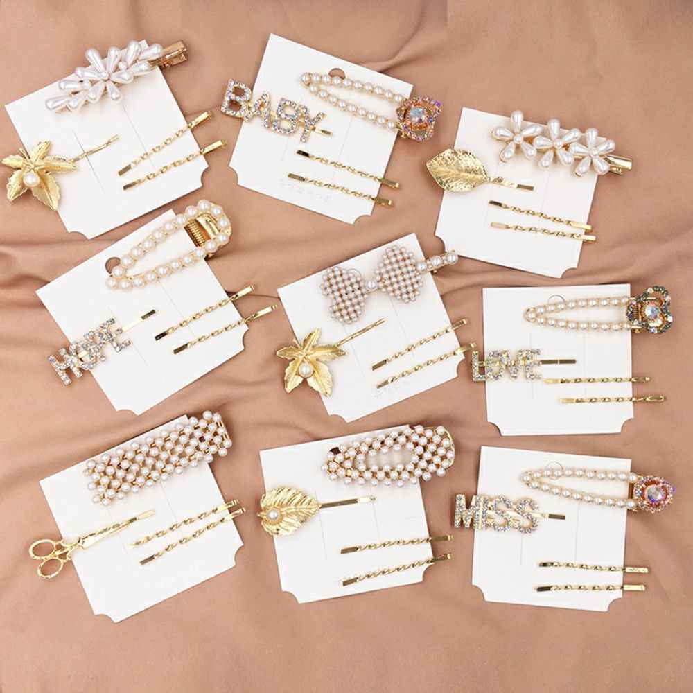 1Set 2019 New Fashion Elegant Korean Design Snap for Women Pearl Hair Clip Barrette Stick Hairpin Styling Tools Hair Accessories