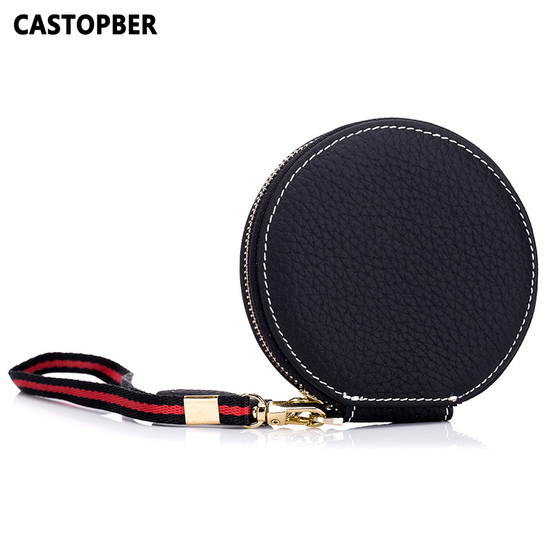 2017 New Designer Fashion Cow Genuine Leather Round Girls Zipper Coin Purse Cute Mini Wallet For Women Famous Brand High Quality