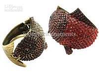 4pcs Wide Bangle Fish Crystal Bracelet Bangles Red And Gold Rhinestone Colors Mix