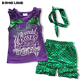 2016 fashion summer baby clothing Boutique outfits sets for 3pcs kids girl cotton ruffle shirts Sequin Mermaid skirt swimsuits