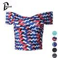 DayLook Moda Blusa Entallada Vendaje Geometría Rayas Onduladas Camisolas Para Las Mujeres Sin Tirantes Sexy Top Blusas Femenino Cremallera de La Espalda