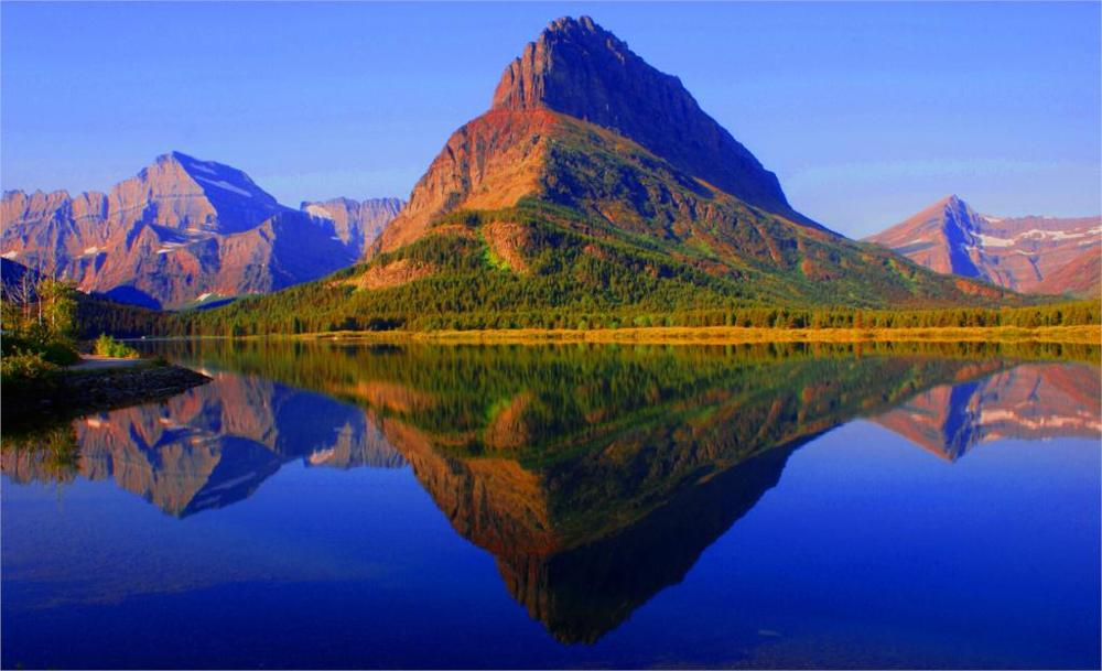 2017 Hot Sale Direct Selling Flat Nature Landscape Glacier National Park Montana 3 Sizes Home Decoration Canvas Poster Print