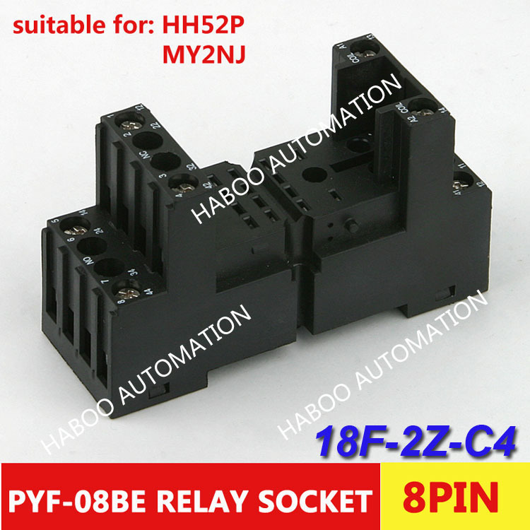10pcs/lot HABOO factory directly 8 pin relay socket 18F-2Z-C4 PYF-08BE KPY2mini switch power socket
