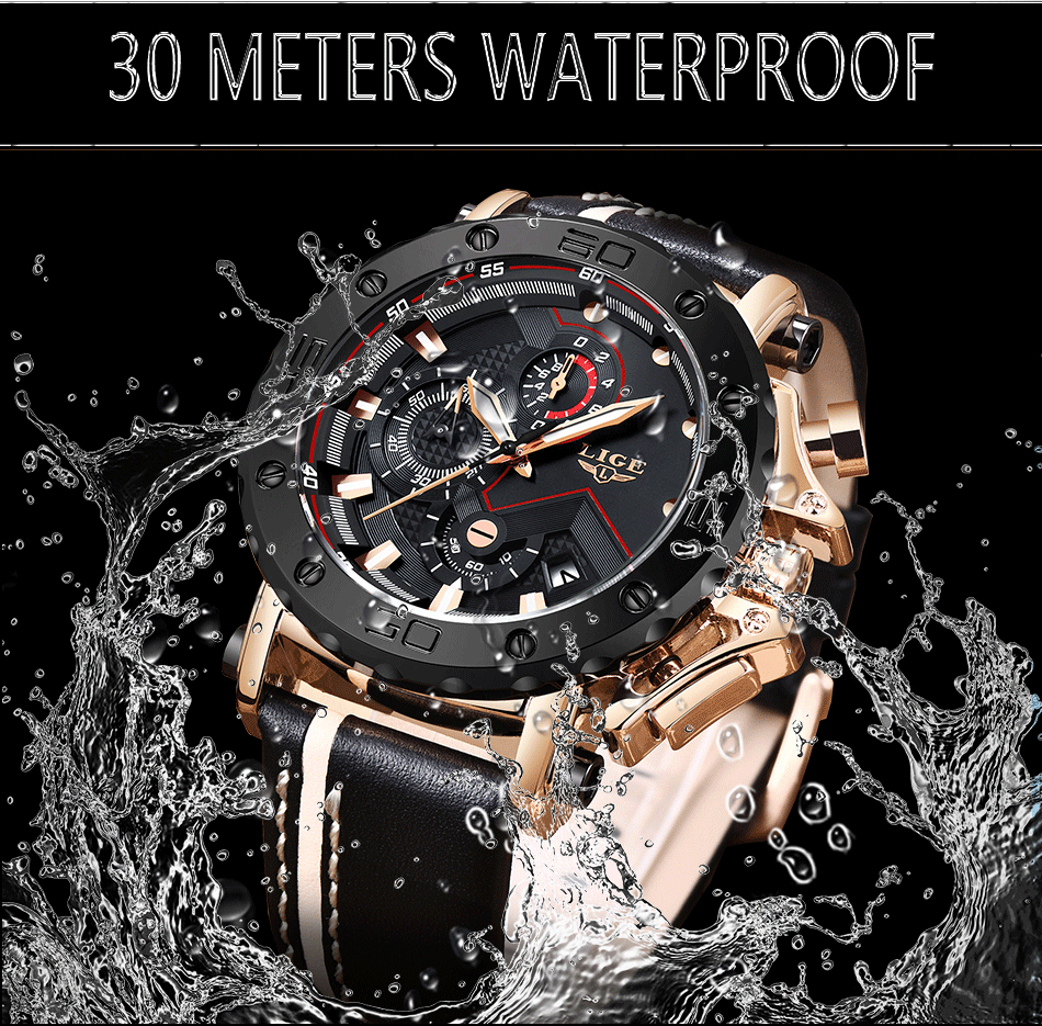 2019LIGE New Fashion Mens Watches Top Brand Luxury Big Dial Military Quartz Watch Leather Waterproof Sport Chronograph Watch Men 4