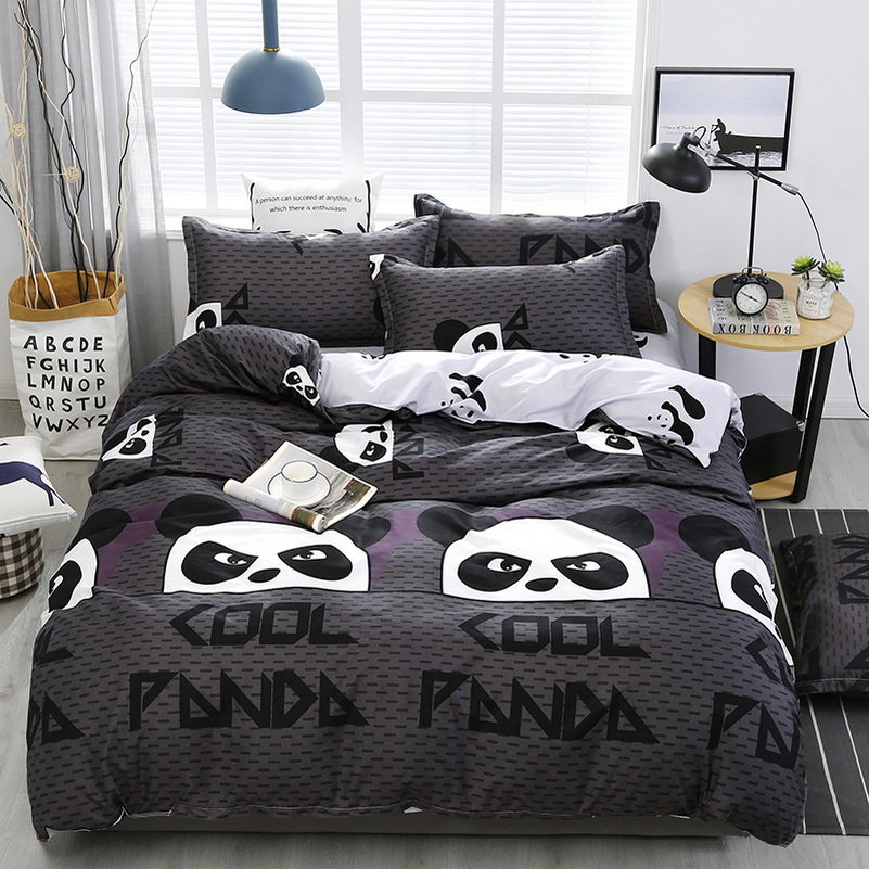 3/4 Pcs Panda Printing Luxury Comforter Bedding Sets Polyester King Bed Linings Duvet Cover Bed Sheet Pillowcases Cover Set