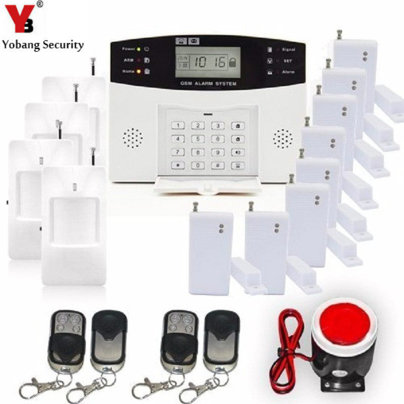 YoBang Security LCD Screen Russian Spanish Ltalian Language Wireless Line GSM Home Security System Metal Remote Control Motion. ...