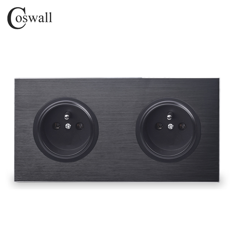 Coswall Black Aluminum Metal Panel 16A Double French Standard Wall Power Socket 2 Way Outlet Grounded With Child Protective Lock