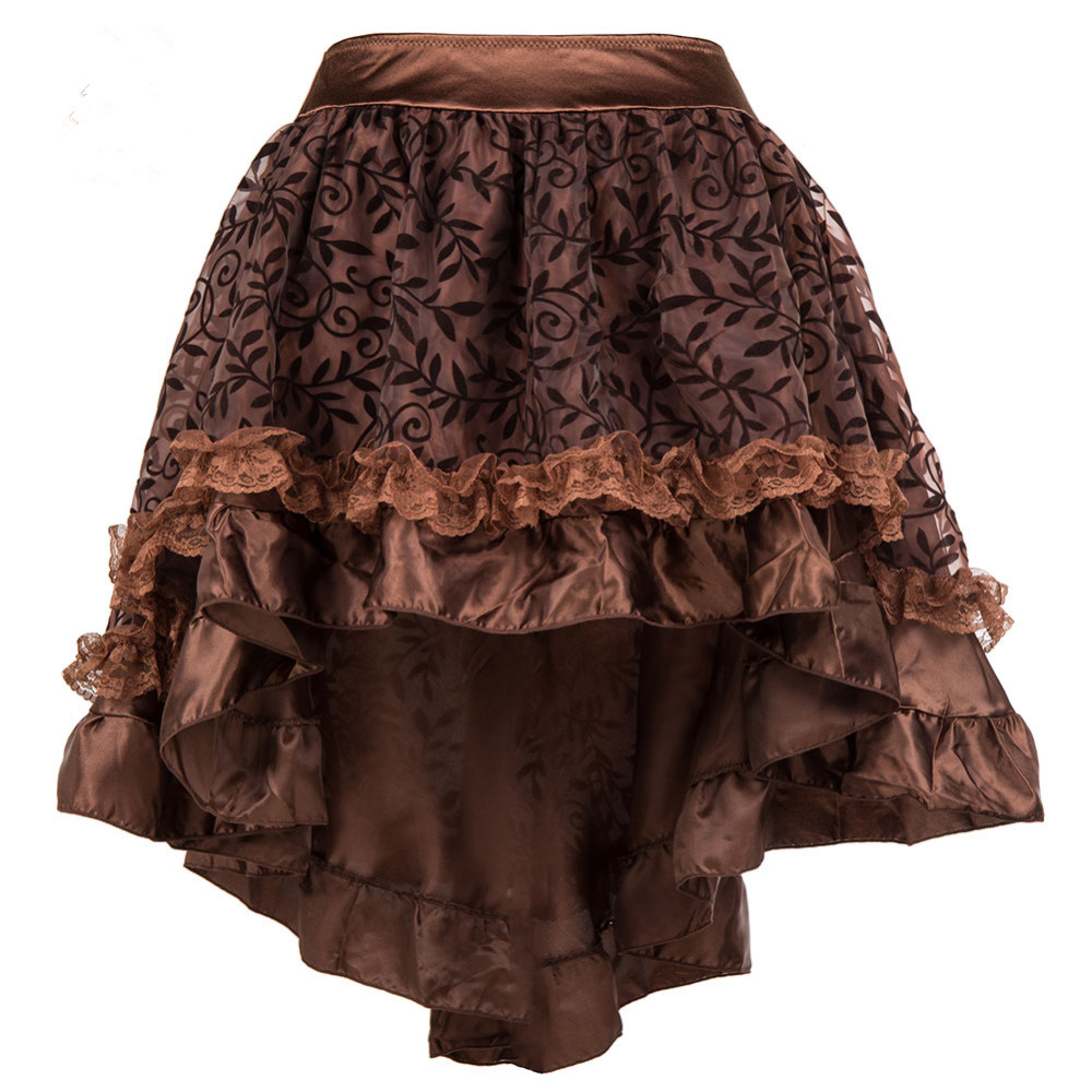 Summer 6XL Plus Size Lace Skirt Womens Black Brown Asymmetrical Floral Tull Ruffled Satin Trim Gothic Vintage Steampunk Skirts