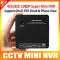 1080 P/720 P ONVIF Mini NVR 4CH/8CH DVR HD Network Video Recorder E-SATA 1 HDD 5 V/2A P2P IP Cámara Con HDMI/VGA salida