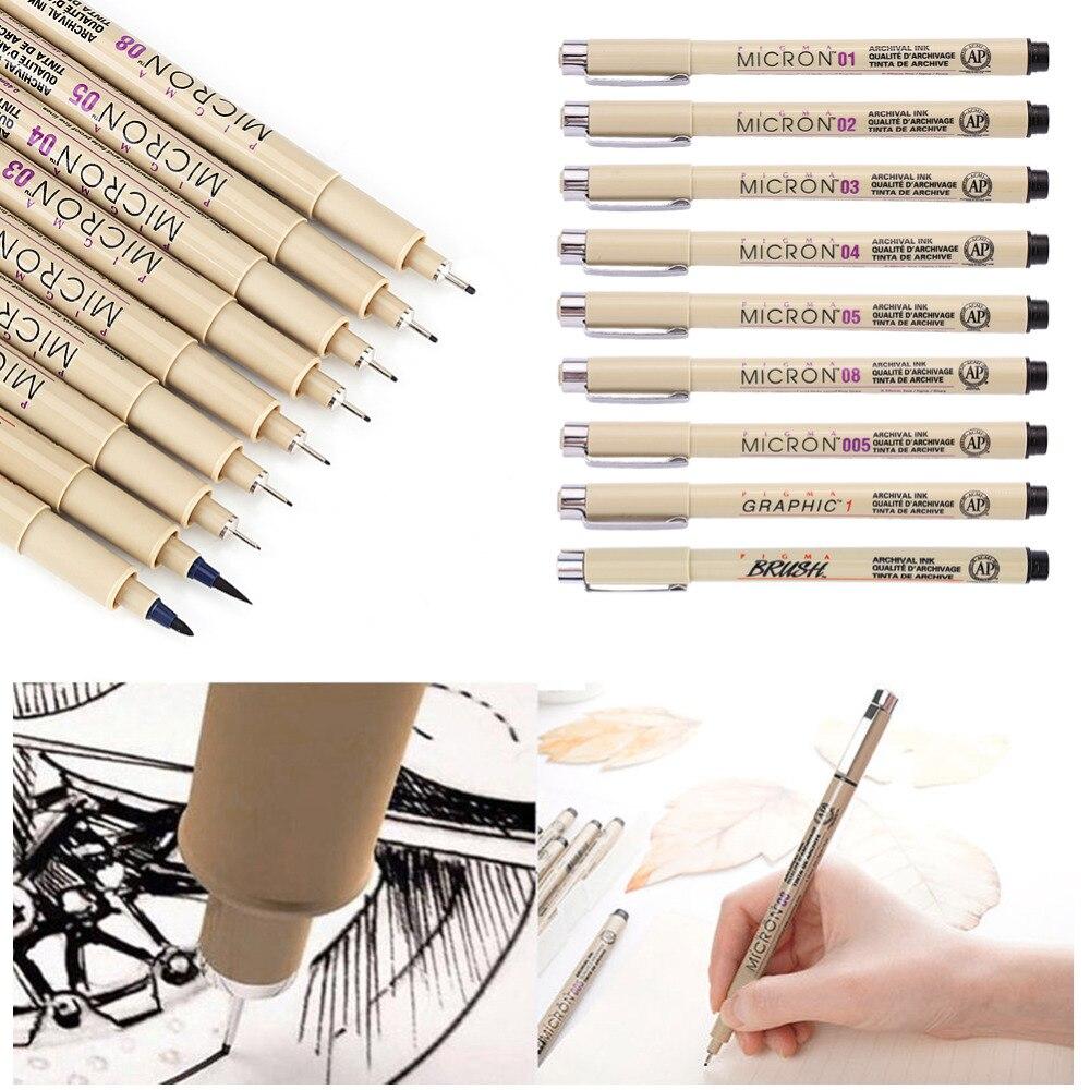 9 piezas/1 Unidades Art marker Pen fine liner dibujo aguja bosquejo de la pluma Kit cepillo Fine Liner dibujo tinta y cepillo arte suministros