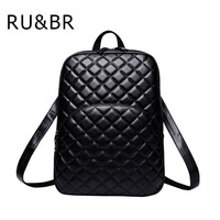 RU BR New Hot Women S Quilted Backpack Fashion PU Leather Backpack For Teenage Girls Bag