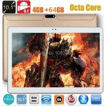 2017 El Más Nuevo 3G tablet pc 10 pulgadas Android 5.1 Octa Core 4G RAM 64 GB ROM 1280*800 IPS 5.0MP Bluetooth GPS tabletas + Regalos