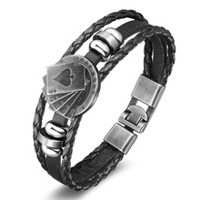 Lucky Vintage Men Jewelry Black Coffee Leather Bracelet Playing Cards Raja Vegas For Men Multilayer Braided Bracelet Pulsera
