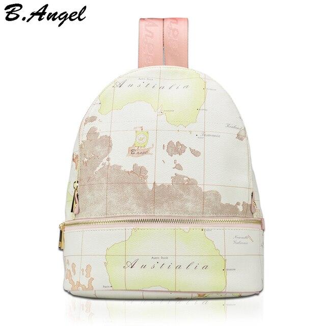 b3304d1caf33 Высокое качество унисекс Карта Мира Рюкзак Повседневная женская рюкзак  мужская кожаная школьная сумка-рюкзак mochila