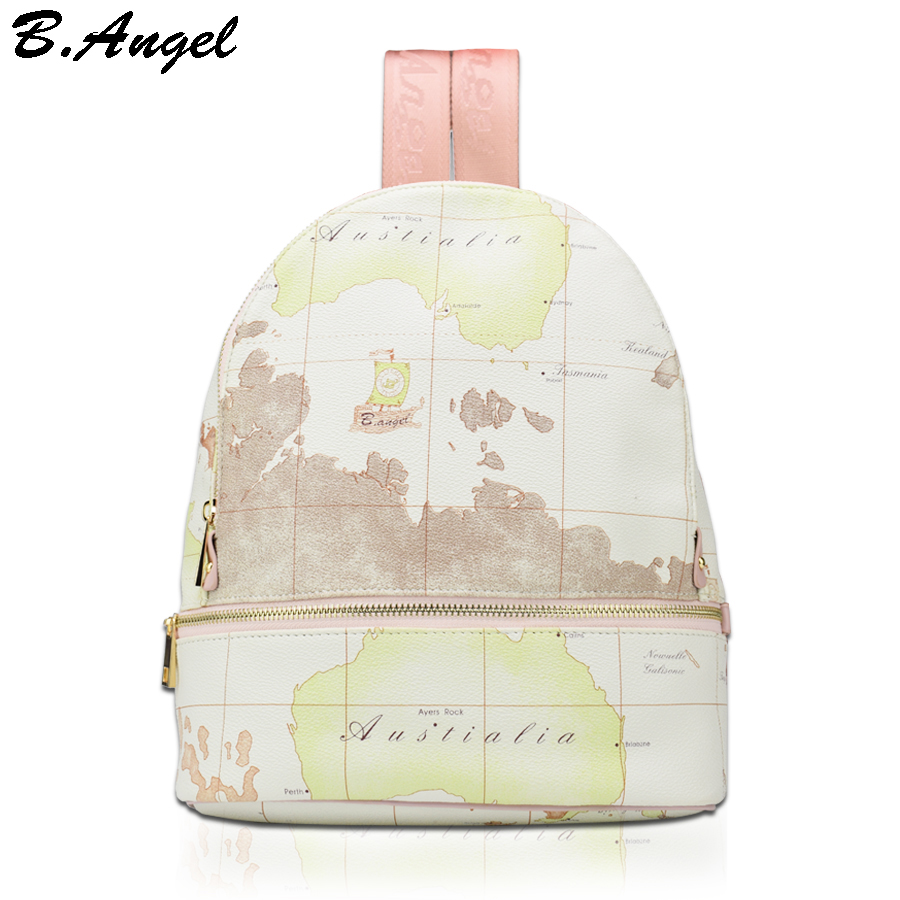High quality unisex world map backpack casual women backpack leather men backpack school bag mochila travel backpack  цена и фото