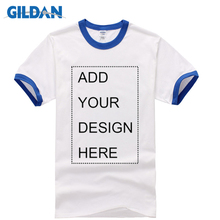 GILDAN New Style Rock Summer Men T Shirt Short Sleeve Tops Tees Casual White With Contrast Collor And Sleeves Customize Shirts