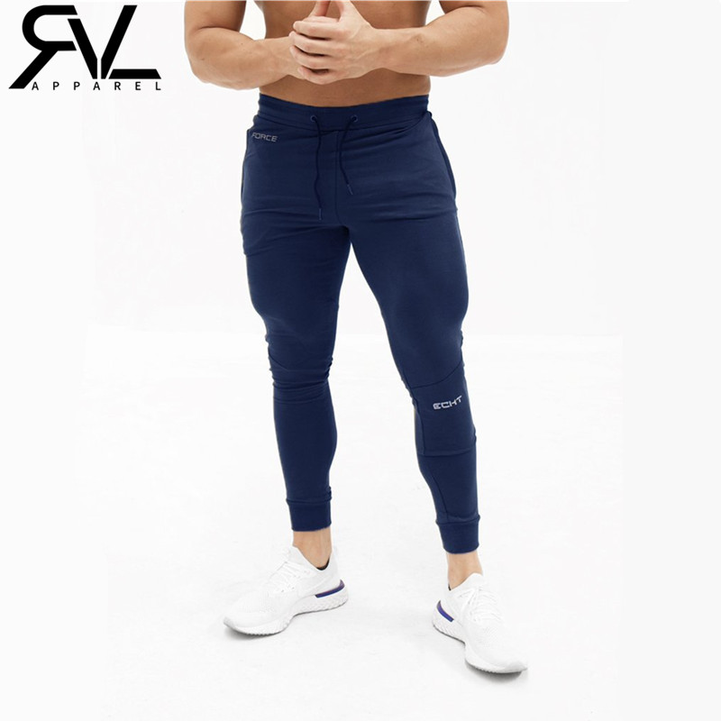 2019 Men's Casual Fitness Joggers Pants Gyms Stretch Cotton Men Skinny Sweatpants Slim Workout Embroidered LOGO Trousers