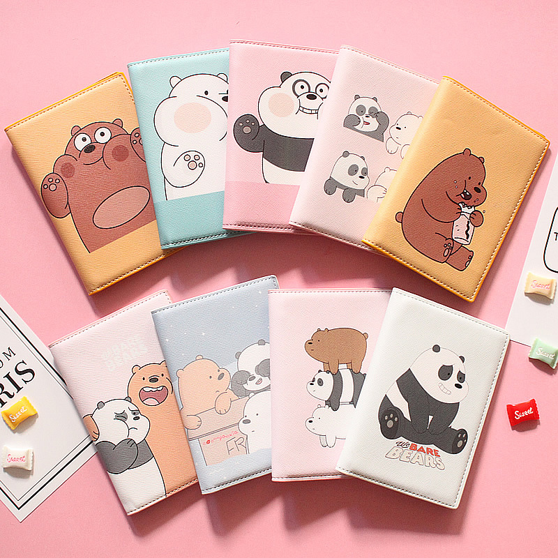 Cartoon We Are Bears Passport Holder Men Leather Business Card Cover Women Credit Card Holder Travel Passport Cover