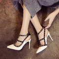 NEW Brand Women Pumps Sexy Pointed Toe Female Sandalias Nude T-Strap Rivets Genuine Leather Thin Heels