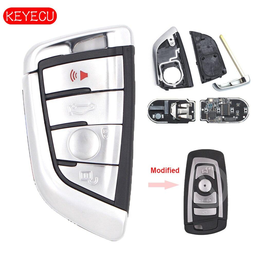 Keyecu Blanc Modifié Intelligent À Distance Clé Fob 4 Bouton 315 mhz/434 mhz/868 mhz pour BMW CAS4 CAS4 + F Châssis 5 7 Série 2012-2016