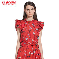 Tangada Women Floral Print Blouses Butterfly Sleeve Summer Ladies Tops Back Bow Tie O-Neck Blouse Shirt Brand Female Blusas XL41