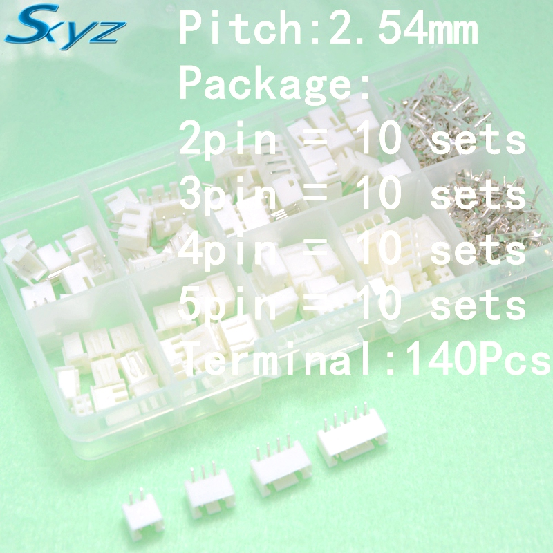 все цены на  40 sets 2p 3p 4p 5 pin 2.54mm Pitch Terminal / Housing / Pin Header Connector Wire Connectors Adaptor XH Kits 90 - degree  онлайн