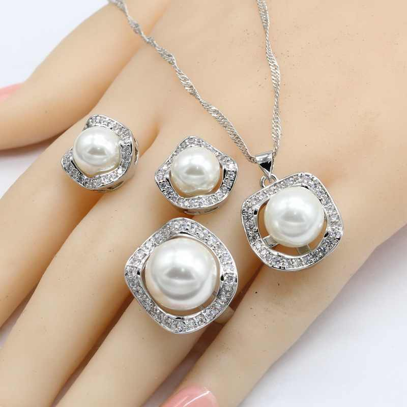 White Freshwater Pearl Silver Color Jewelry Sets For Women Necklace Pendant Stud Earrings Rings Free Gift Box