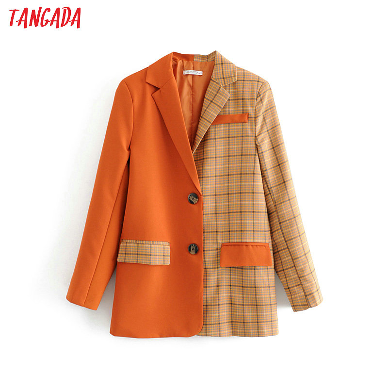 Tangada Women Plaid Patchwork Orange Suit Jacket Formal Blazer Pocket 2019 Fashion Ladies Blazer Designer Work Wear Outwear DA24