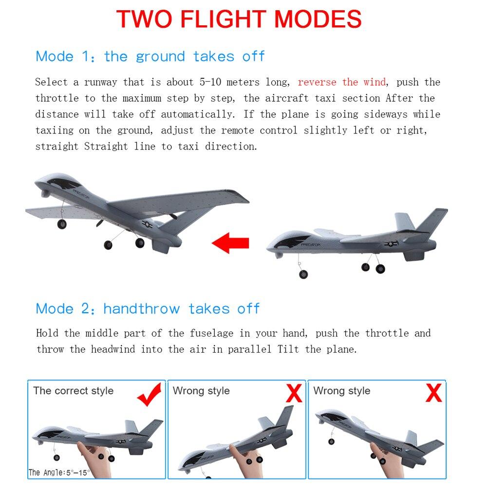 Avion RC Avion Z51 20 Minutes de Temps De Vol Planeur 2.4G Volant Modèle avec LED Main Jetant Envergure Mousse Avion Jouets pour Enfants 3