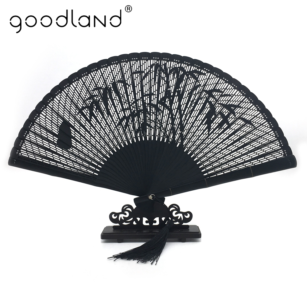 Free Shipping 1pcs High Quality Black Chinese Folk Bamboo Joint Leaf Carved Folding Hand Fan Wedding Gift