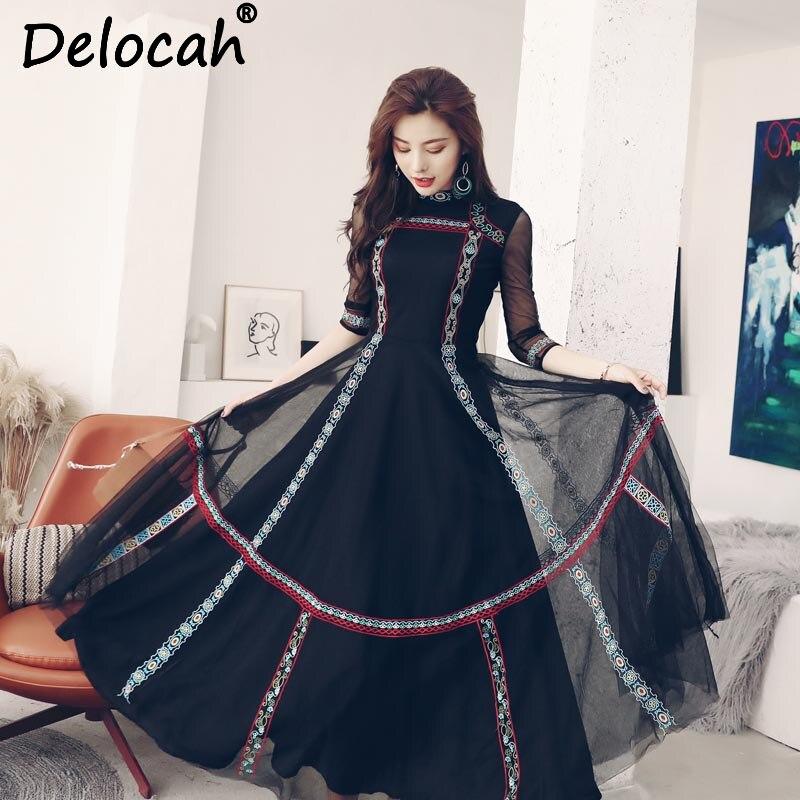 Delocah 가을 여성 드레스 활주로 패션 디자이너 3/4 슬리브 화려한 빈티지 블랙 레이스 메쉬 자수 드레스 오버레이 드레스-에서드레스부터 여성 의류 의  그룹 2