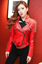 WHP001 female rock punk PU leather jacket/rivet slim leather coat/women Motorcycle Jacket/metal  washing leather jacket/PU coat