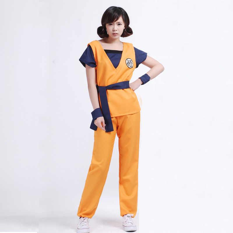 Dragonball Dragon Ball Z взрослый сын Гоку Мастер Роши логотип рубашки брюки куртка Косплэй Хэллоуина Костюм кунг-фу наряд