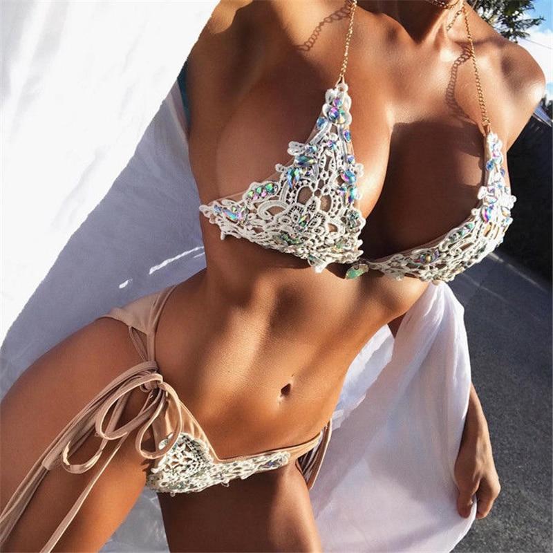 Lace Bikini Diamond Swimsuit Crystal Women Swimwear Nude Bikinis Brazilian Rhinestone Beachwear Push Up Bikini 2018 Lace Biquini