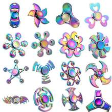 Tri Hand Finger Fidget Spinner Metal Mini Multi Rainbow Color Spinner Set EDC Quiet Wheel Kid Tri-spinner Toy Butterfly vermello(China)