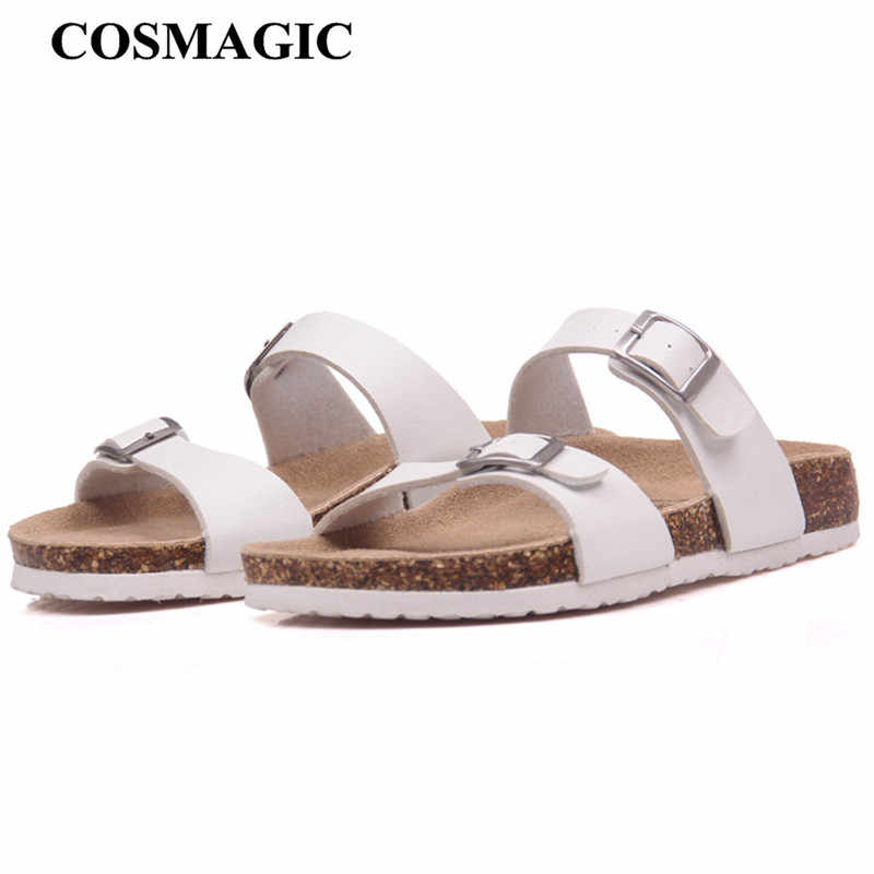 COSMAGIC 2018 New Summer Cork Slippers Shoe Women Casual Mixed Color PU Flip Flops Holiday Beach Slides Flat With  Plus Size
