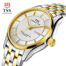 TSS мужские механические часы случайный водонепроницаемый 10атм стальные полые мужской стол ультра-тонкий моды бизнес календарь золотые часы
