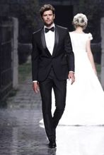 2015 Custom Made Handsome Black 3 Piece Mens Slim Suits Tuxedos Groom Wedding Suits Formal Party Suits Blazers+Pants+Vest