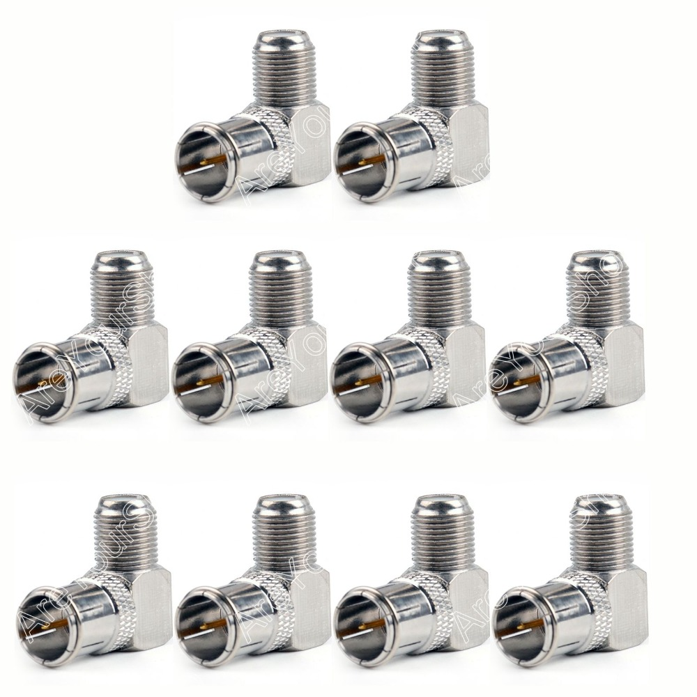 Areyourshop Sale 10Pc Slide-On Adapter F TV Plug Male To F TV Female Connector Right Angle Push-On W areyourshop sale 10 pcs gold plated f male to pal female plug tv coax antenna cable connector minij